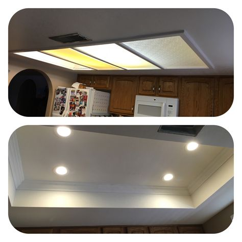 Az Recessed Lighting Kitchen Conversion One Of Our Great Passions Removal Of Tray Ceil Kitchen Lighting Remodel Kitchen Recessed Lighting Lighting Makeover