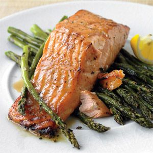 Honey-Mustard Salmon with Roasted Asparagus. Tried it...  Really good. Substituted butter with coconut oil and turned out great!
