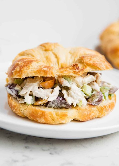 This chicken salad croissant is an elevated version of a classic sandwich. Light and creamy, tangy, and crunchy, it's an out-of-this-world chicken salad.