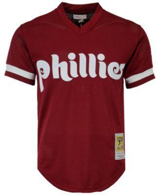 Mitchell & Ness Men Lenny Dykstra Philadelphia Phillies Authentic Mesh Batting Practice V-Neck Jersey