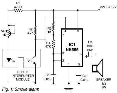 Simple Smoke Alarm Using Photo Interrupter Module Electronic Schematic Diagram Electronic Schematics Smoke Alarms Simple Circuit
