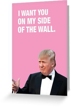 I Want You On My Side Of The Wall Trump Valentine Greeting Card