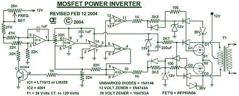 1000w Power Inverter Circuit Diagram This Is The Power Inverter Circuit Based Mosfet Rfp50n06 The Inver Power Inverters Circuit Diagram Electronic Schematics