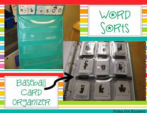 Polka Dot Kinders: Guided Reading: Part 1, LOVE the baseball card binder for organizing sorts!  What a great idea!