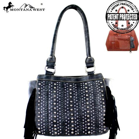 MW376G-8250 Montana West Fringe Collection Concealed Handgun Tote-Black  #western #momtanawest #west #handbaloverusa #rustic #rusty #country #purse #countrygirl #cattle #american #cowgirl #texas #texan #USA #cowgirl #cattle #countryside #countrylife #gun #guncarry #aztec