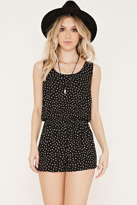 Polka Dot Print Gauze Romper Festival outfits Black and white Coachella outfit