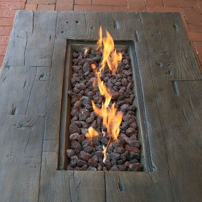 Rustic Faux Wood 48 Propane Gas Fire Pit Table With Lava