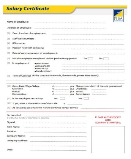 Salary Certificate Formats 21 Free Printable Word Excel Pdf