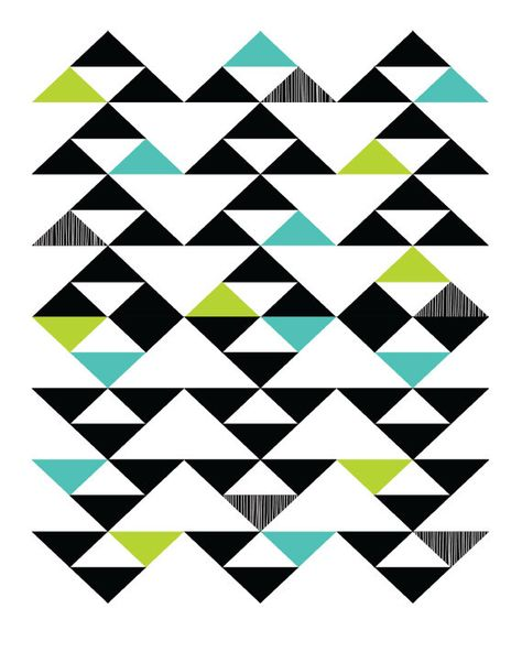 Triangles for a quilt. Charcoal, black and white crosshatch, grey and white crosshatch, Aqua, mint and a pink.salmonish with a white background