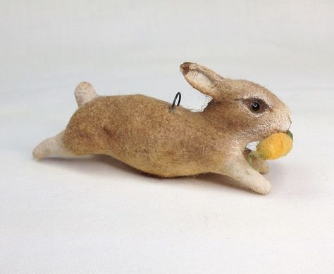 Spun Cotton Running Rabbit Ornament by Arbutus Hunter