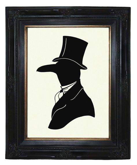 Silhouette Raven Crow Gentleman Victorian Steampunk art print by emporiumshop on Etsy