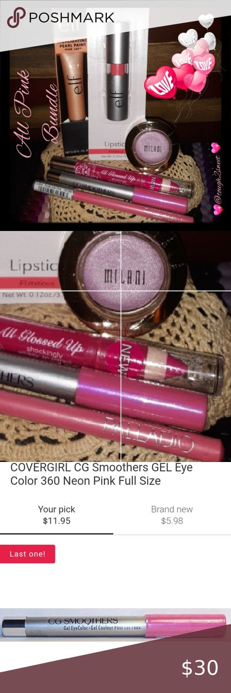 🆕️💖All Pink Makeup Collection💖 Set Of 6💖 💖In This All Pink Makeup Collection, You Will Receive The Following  💖 1 CG SMOOTHERS Gel Eye Color In