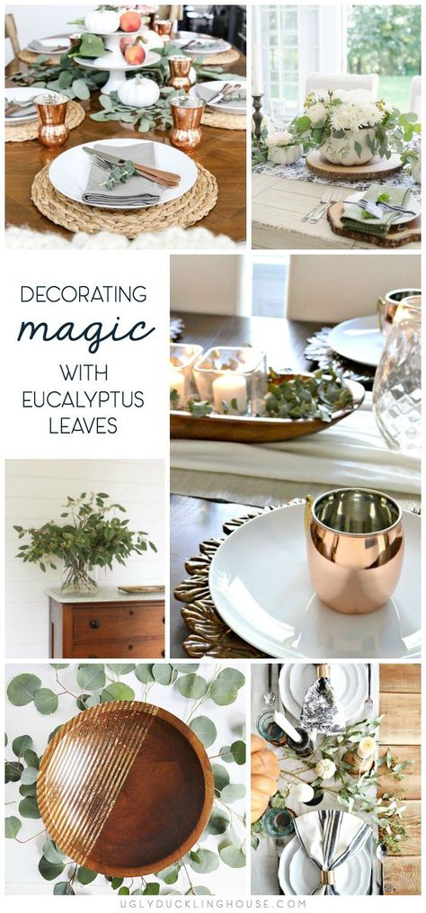 A simple seeded eucalyptus bouquet is incredibly versatile for wreaths, holiday table settings, and fixing decor that is missing a little something. #tablesetting #thanksgiving #diningroomideas #eucalyptus #diy #bouqlove #thanksgivingdecor