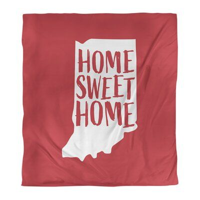 East Urban Home Indiana Home Sweet Single Duvet Cover Size Twin Duvet Cover Color Red Fabric Microfib Single Duvet Cover Single Duvet Twin Xl Duvet Covers