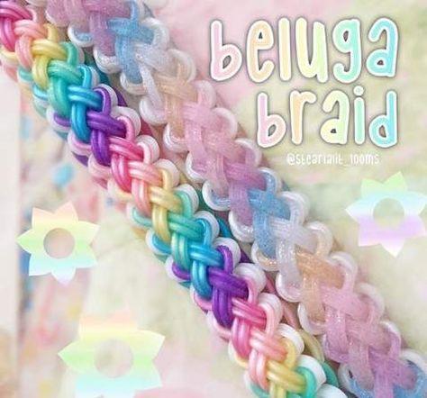 Arts and crafts- Weaving loom crafts- Rainbow loom- Beluga braid pattern Rainbow Loom Bracelets Easy, Loom Band Bracelets, Rainbow Loom Tutorials, Rainbow Loom Patterns, Rainbow Loom Creations, Rainbow Loom Bands, Rainbow Loom Charms, Rubber Band Bracelet, Rainbow Loom Easy
