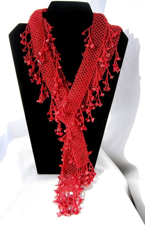 netted scarf with dangles