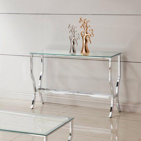 Coaster Company Sofa Table Chrome And Tempered Glass Silver