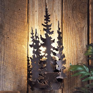 Rustic Lamps: Bear Forest Metal Wall Lamp|Black Forest Decor