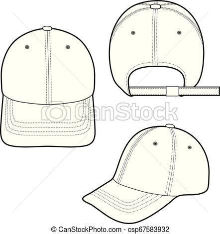 Baseball Cap Fashion Flat Sketch Template Vector Stock Illustration Royalty Free Illustrations Stock Clip Art Icon Stock Clipart Icons Logo Line Art Eps