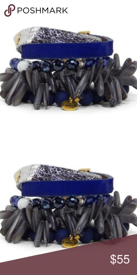 Erimish Justin Gameday Blue Navy Silver Gray Set Erimish Justin Gameday Blue Navy Silver Gray 3 Beaded 2 cuffs  New Excellent - no box.  Comes in pouch. Erimish Jewelry Bracelets