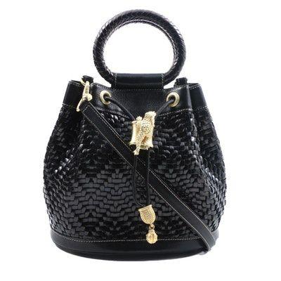 ebdd1833ada Barry Kieselstein-Cord Black Woven Leather Drawstring Bucket Handbag with  Lizard