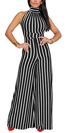82881bb6a71  17.99--BLACK--XXXL--- KAMESON Strapless Sexy BLACK White Stripe High  Waisted Long Wide Leg Club Jumpsuit Romper for Women BLACK