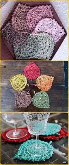 Crochet Lace Leaf Coasters Free Pattern Crochet Coasters Free