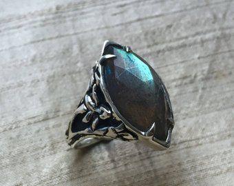 Labradorite and Sterling Silver- Stargazer Lily Ring Proposal Anniversary Bridal Wedding @ VOVA