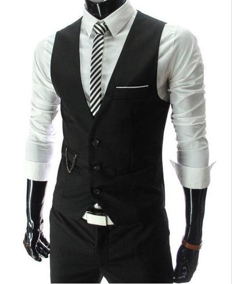 Chaleco de traje slim fit para hombre - negro / 5XL