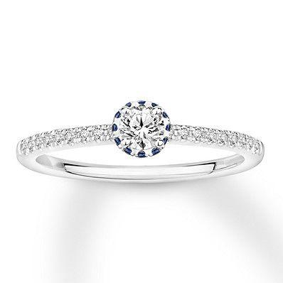 Diamond Sapphire Engagement Ring 1 3 Ct Tw 10k White Gold Diamond Sapphire Engagement Ring Engagement Rings Sapphire Sapphire Engagement