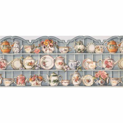 August Grove Mcdorman Cups And Saucer Cupboard 15 L X 10 W Wallpaper Border Kitchen Cabinet Design Wallpaper Border Wallpaper Border Kitchen