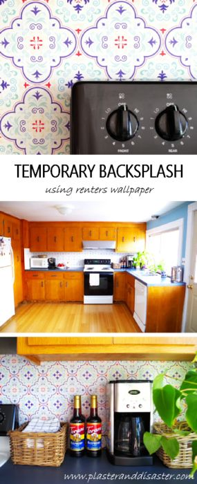 Make a temporary backsplash using renters wallpaper - see how at Plaster & Disaster