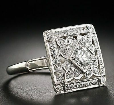 Jewelry Diamond : Square Art Deco Diamond Cocktail Ring – – Lang Antiques - Buy Me Diamond Anel Art Deco, Bijoux Art Nouveau, Art Deco Jewelry, Fine Jewelry, Jewelry Design, Jewelry Crafts, Sterling Silver Jewelry, Antique Jewelry, Vintage Jewelry