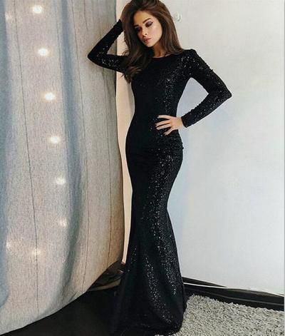 Vunique Prom Dress Long Sleeve Evening Dress Black Prom Gowns Sequined Evening Dresses Cheap Ball Gowns Unique Prom Dresses Long Long Sleeve Evening Dresses Black Sequin Prom Dress