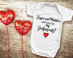 White Baby grow Vest Bodysuit. Custom Will You Be My Godfather