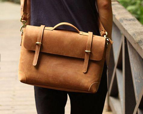 dd4f2b26f4 Handmade Vintage Leather Briefcase / Leather Messenger Bag / 13