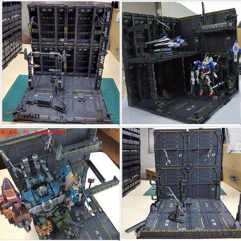 CG Freely combined Gundam Hangar Domain base scenario building Mechanical chain base action figure model