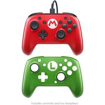 Pdp Nintendo Switch Faceoff Wired Pro Controller With 2 Super Mario Controller Faceplates Red Green Mario And Luigi Nintendo Switch Nintendo Switch Accessories
