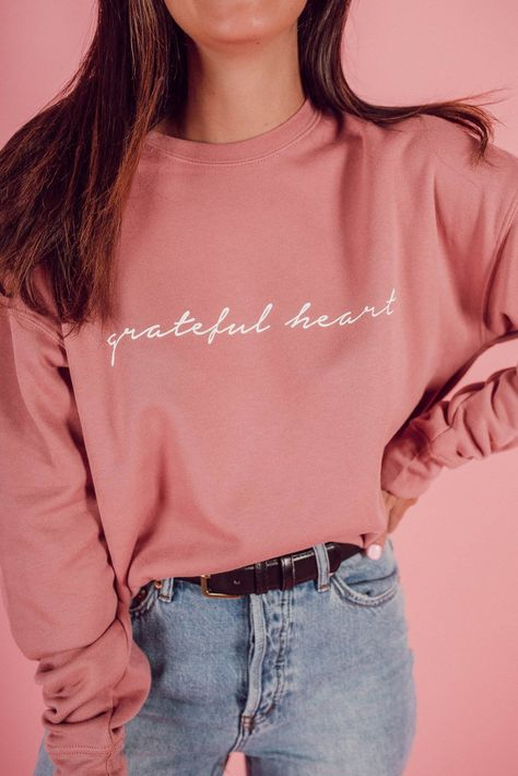 Valentine's Day pullover - - Christian Clothing, Christian Shirts, Girl Outfits, Cute Outfits, Fashion Outfits, Grateful Heart, Sweatshirt Outfit, Apparel Design, Cute Shirts