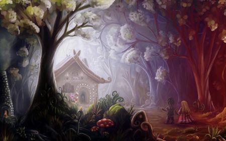 Hansel And Gretel Forest Art House Sweet Tree Fantasy Tale Gingerbread Child Hansel And Gretel Couple Art Fairytale Art Illustration Art