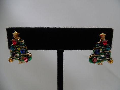 Pierced Gold Christmas Tree Earrings