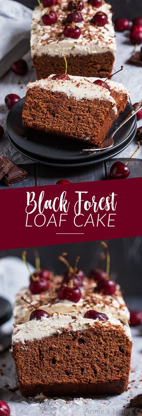 This Black Forest Loaf Cake can be made with or without alcohol and makes the perfect centrepiece for your holiday table! A rich chocolate cake with cherries and cream, it's easy to make and delicious! #blackforest #chocolate #cake #chocolatecake #christmasbaking #baking #christmas