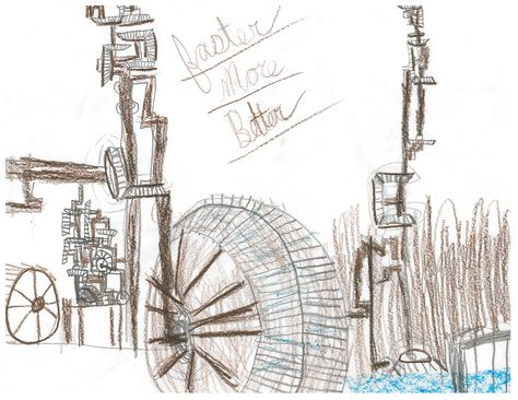 """Child's drawing of their field trip to Slater Mill. The Industrial Revolution--  """"faster, more, better"""""""