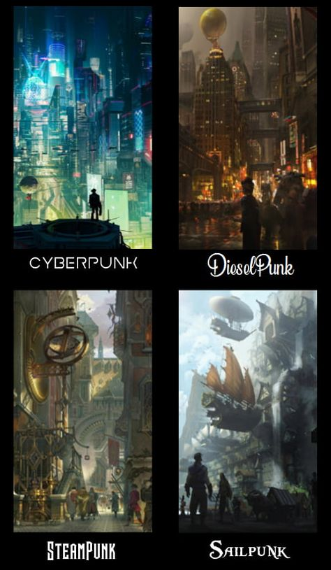 What is your favorite type of Punk ? The Effective Pictures We Offer You About Book Genres activities A quality picture can tell you many things. You can find the most beautiful pictures that can be p Fantasy Kunst, Fantasy Art, Fantasy Posters, Steampunk Kunst, Steampunk City, Arte Cyberpunk, Fantasy Landscape, Dieselpunk, Fantasy World