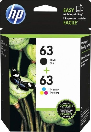HP #63 Combo Ink Cartridges 63 Black /& Color NEW GENUINE
