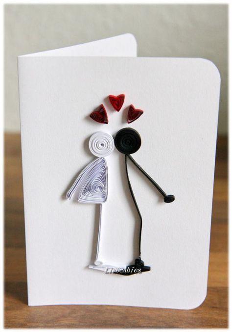 Glückwünsche - Grußkarte Hochzeit Liebe Jubiläum Proposal - ein Designerstück von Liebeabiesquilling bei DaWanda #howtogethimtopropose