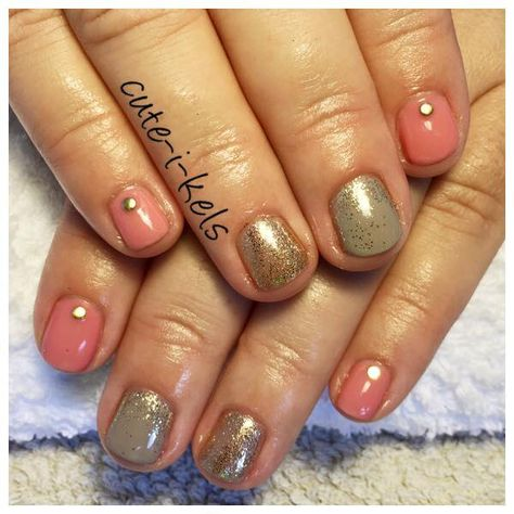 Coral coloured shellac over short natural nails with gold glitter coral coloured shellac over short natural nails with gold glitter accent finger glitter fade nail prinsesfo Images