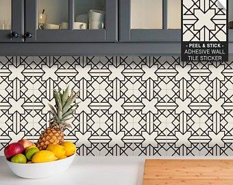 Kitchen And Bathroom Splashback Removable Vinyl Wallpaper Hexa Black Peel Stick Splashback Tiles Kitchen Tiles Adhesive Tiles