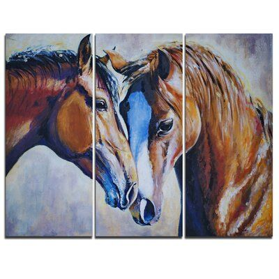 Design Art Brown Amorous Horses 3 Piece Painting Print On Wrapped Canvas Set In 2020 Animal Canvas Art Horse Painting Animal Art