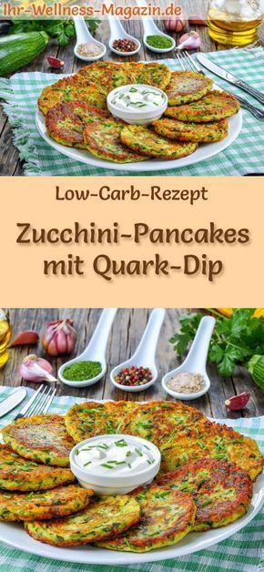 Low-Carb-Rezept für Zucchini-Pancakes mit Quark-Dip: Kohlenhydratarme, herzhafte Pfannkuchen - gesund, kalorienreduziert, ohne Getreidemehl #lowcarb #pancakes #pfannkuchen